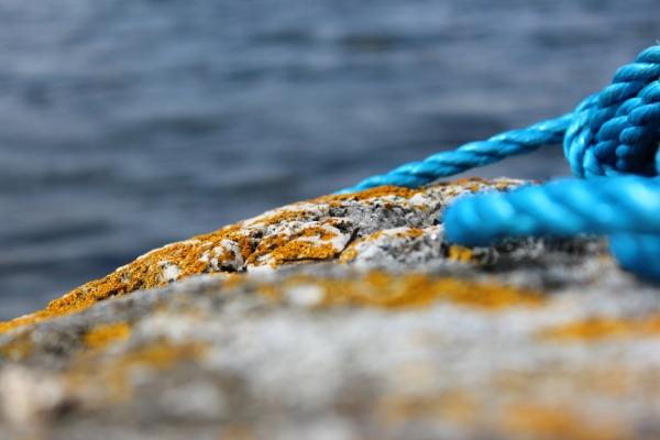 Berg med gul messinglav og blått tau ved sjøen