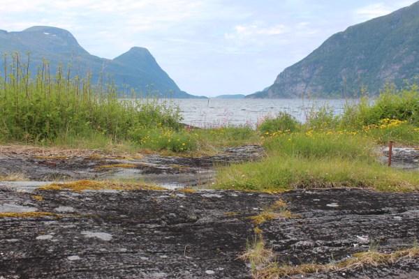 Flate berg og gress ved sjøen med Tustnastabbene og Ertvågøya i bakgrunn