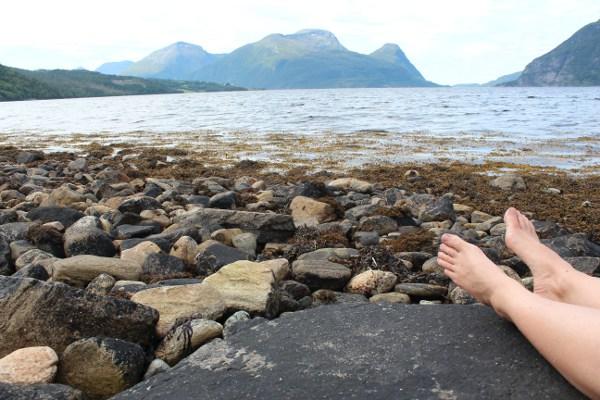 Hviler på en stor svart stein i fjæra med utsikt på Tustnastabbene